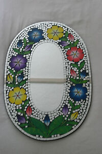 uperb Hand Crafted Mosaic Mirror With Flowers  60 x 40 Cm Wide