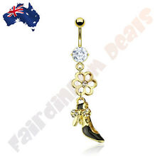 Gold Plated Clear Jewelled Belly Ring with Jewelled Flower,Bow Dress Shoe Dangle
