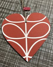 Handmade Using ORLA KIELY Linear Stem ReD XL  Hanging Heart 12cm Keepsake Retro