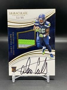 2016 Panini Immaculate Alex Collins Auto Patch RPA RC SP /99 Seattle Seahawks
