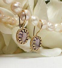 Amethyst Earrings Drop 14K Solid Gold Birthstone Gemstone Jewelry
