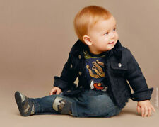 DOLCE AND GABBANA BABY BLACK LAMBS LEATHER FUR-LINED JACKET 18-24 MONTHS