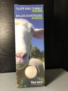 Norwex Fluff & Tumble Dryer Balls. NIB 100% New Zealand Wool Natural Fabric Soft