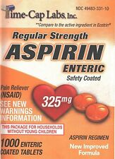 New Sealed Bottles of ENTERIC COATED Aspirin 325mg 1000 Tablets COMPARE ECOTRIN
