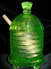 Green Yellow Vaseline glass serving honey pot / mustard jar uranium dish dipper