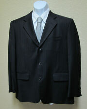GIANNI MANZONI MENS NAVY BLUE PINSTRIPE VIRGIN WOOL JACKET SIZE 42R