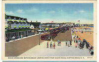 1935 postcard- Ocean Ave. and Bathing Beach Looking North. Hampton Beach, N.H.
