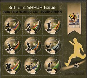 Namibia 2010 FIFA World Cup gold miniature sheet of 9