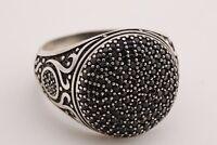 Turkish Jewelry Round Black Onyx Zircon 925 Sterling Silver Men's Ring Size 10.5