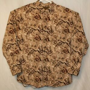 North River Outfitters Men's XL Button Collar Long Sleeve Cotton Deer