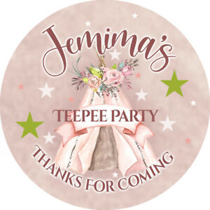 24 Personalised Stickers For Party/Sweet Cone Bags TeePee Party, Sleepover Party