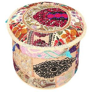 """Ethnic Round Pouf Cover Patchwork Embroidered Pouffe Slipcover Cotton 22"""" Beige"""