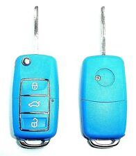 Klapp Schlüssel Gehäuse / Fernbedienung Blau -VW SEAT SKODA  -3 Tasten