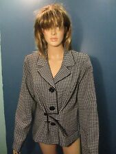 Size 16 black and white CHECKER PATERN BUTTON UP CAREER jacket by SWEET SUIT