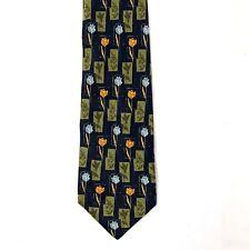 Vintage NORDSTROM Altea Men Silk Neck Tie Floral Flowers Blue Yellow Neckwear