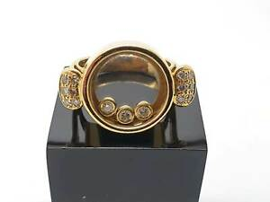 18K Yellow Gold Ring  Floating Diamond with  Diamond Shoulders Ring Size J ½