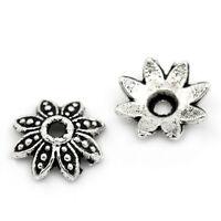 """200PCs New Metal Bead Caps Flower Silver Tone 8mmx8mm(3/8""""x3/8"""")"""