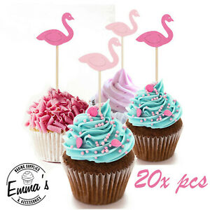 20Pcs Flamingo Cupcake Picks Stand up Toppers Birthday Cup Cakes Decorations