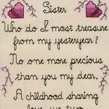 Sister Family Love Poem Prayer Sandi Phipps 669 Counted Cross Stitch KIt 6.5x9