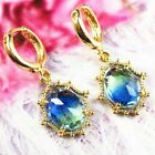 Wrapped Faceted Blue Green Tourmalin Crystal Oval Pendant Bead Earring EH1313