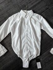 White cotton ballroom dance performance shirt with fly buttons 154 sm 60.6 in