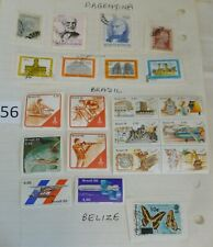 Stamps Lot of 21 Argentina Eva Perron Brazil Stamp Block Unused Belize Butterfly