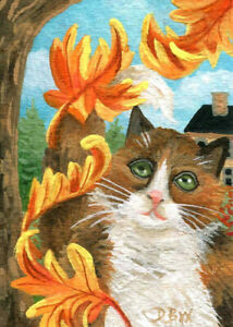 ACEO original miniature art painting animal cat Autumn Fall Seasons leaves pet