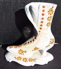 Vintage Large Porcelain Victorian / Shabby Chic Flower (1920's) Boot Planter Usa