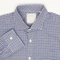 Billy Reid Mens Dress Shirt M Blue Gray Check Plaid Button Front Spread Collar