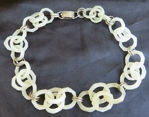 Chinese Antique Carved Jade Interlocking Necklace & Silver