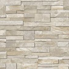 Natural Stone Brick Slate Effect Vinyl Wallpaper IDECO Choc A17204