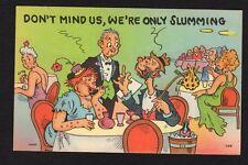 "Comic Postcard hobos in fancy restaurant ""don't mind us, we're only slumming"""