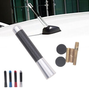 "Universal 3"" Silver Aluminum Carbon Fiber FM AM Radio Car Antenna Aerial BA"