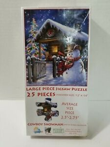 Cowboy Snowman Jigsaw Puzzle 25 Pc. 12 x 14 Dona Gelsinger Christmas Snowman