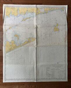 "Vintage 1970 Block Island Sound Nautical Chart Map - 35"" x 43"""