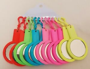 12 Neon Plastic Mirrors Girls Backpack Clip-Ons Stocking Stuffers Teacher Gifts
