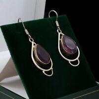 Antique Vintage Art Deco 925 Sterling Silver Amethyst Teardrop Dangle Earrings