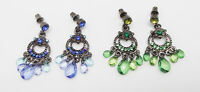 "ICON 1.5"" DEE BLUE GREEN ACRYLIC CRYSTAL DROP DANGLE EARRINGS SILVER CUSHION NEW"