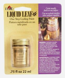 Plaid LIQUID LEAF Metallic Classic Gold Glaze 0.8 oz One-Step Leaf Painting 6110