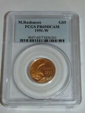 1991 W $5 MOUNT RUSHMORE GOLD COMMEMORATIVE COIN PCGS PR69DCAM USA DEEP CAMEO