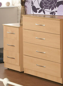 Ready Assembled Beech 4 Drawer Chest and 3 Drawer Bedside with FREE DELIVERY!!