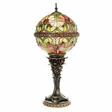 "Tiffany-Style Choice of 26.5"" Halston Orb Stained Glass Table Lamp Spice New"