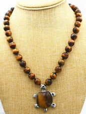 Beautiful 10mm African Roar Yellow Tiger's Eye Turtle Pendant Necklace 18""
