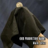 Magician's Deluxe Coin Production Hanky (Black Handkerchief) Mid Air Magic Trick