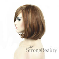 Bob Style Synthetic Hair Wigs Short Straight Blonde Inner Buckle Bangs Full Wigs