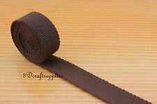 5 yards 1 inch polyester-mixed cotton webbing key fob strap dark bronze ZB42