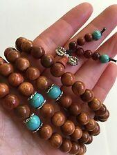 Sandalwood Buddhist Prayer Mala With Turquoise Necklace/Bracelet 108 8MM