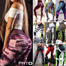 Womens High Waist Yoga Pants Push Up Ruched Running Sports Leggings Trousers AM