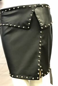 Faux Leather Disco Mini Skirt With Studs - Black 3 Sizes Small-Medium-Large