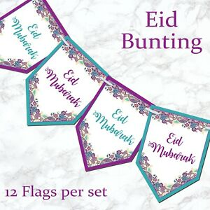 Eid Mubarak Ramadan Kareem Muslim Islam Pennant Bunting Home Party Banner Decor